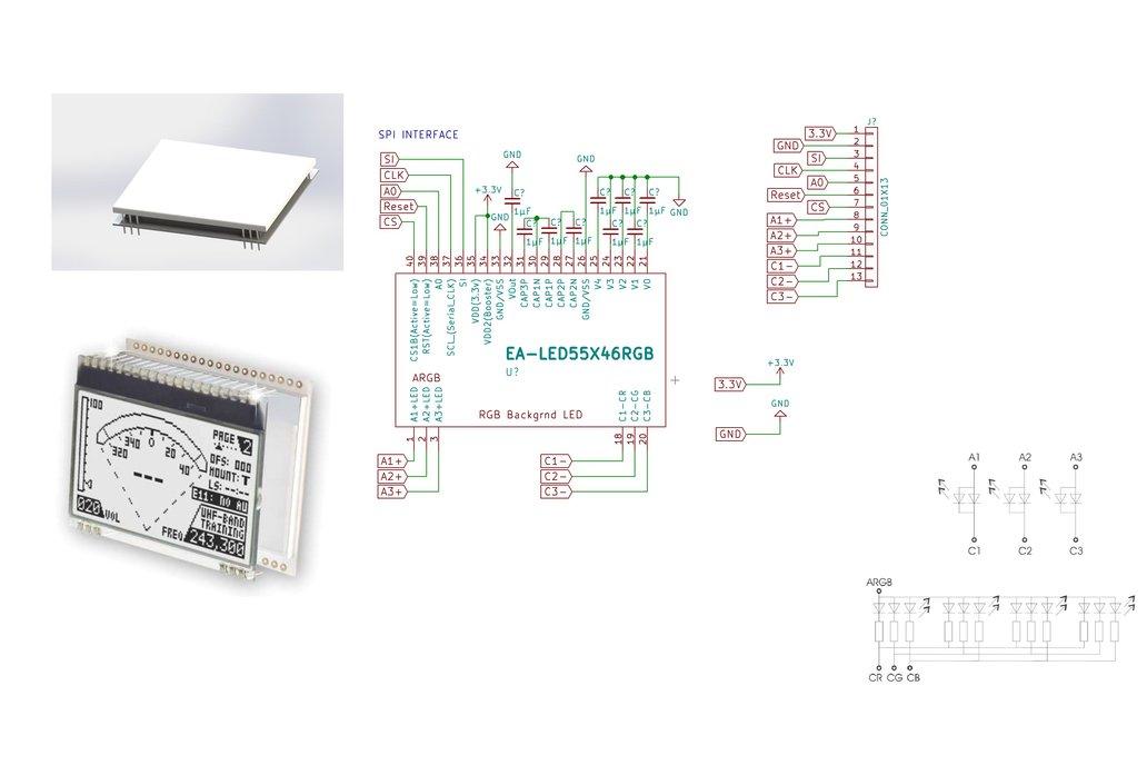 AE DOGM-128 Display holder, breadboard compatible 8