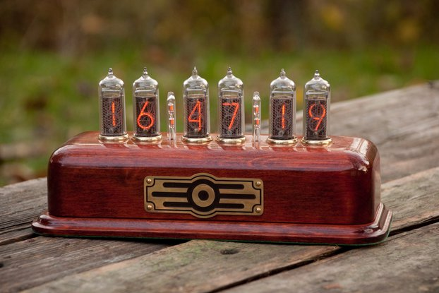 Vintage style Nixie Clock  IN-14 tubes red color