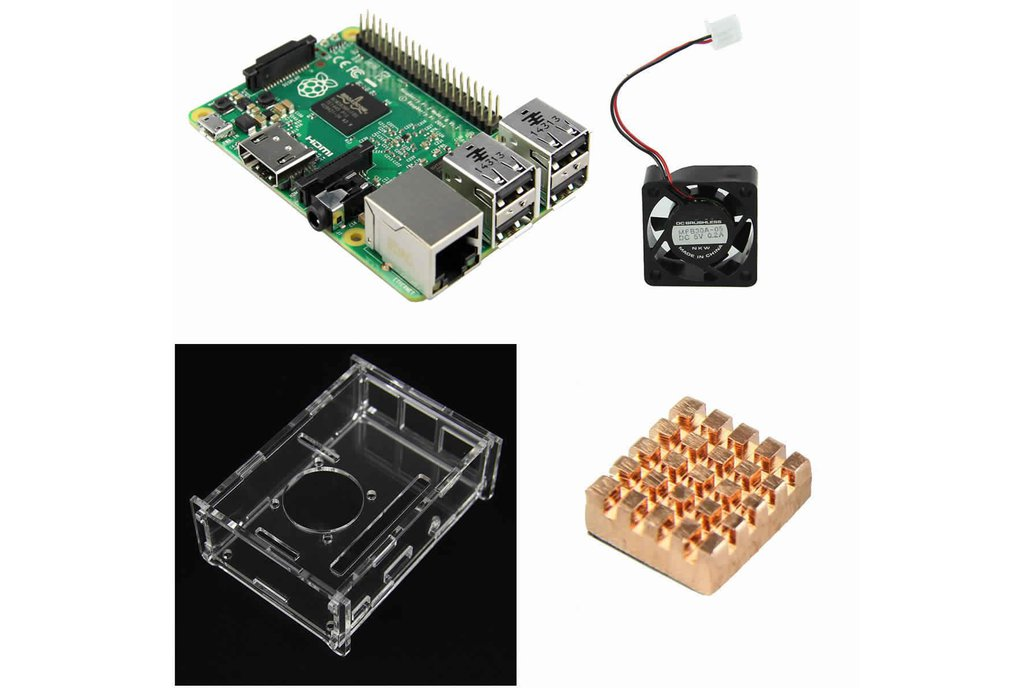 4 IN 1 Raspberry Pi 2 Model B + Acrylic Shell +fan 1