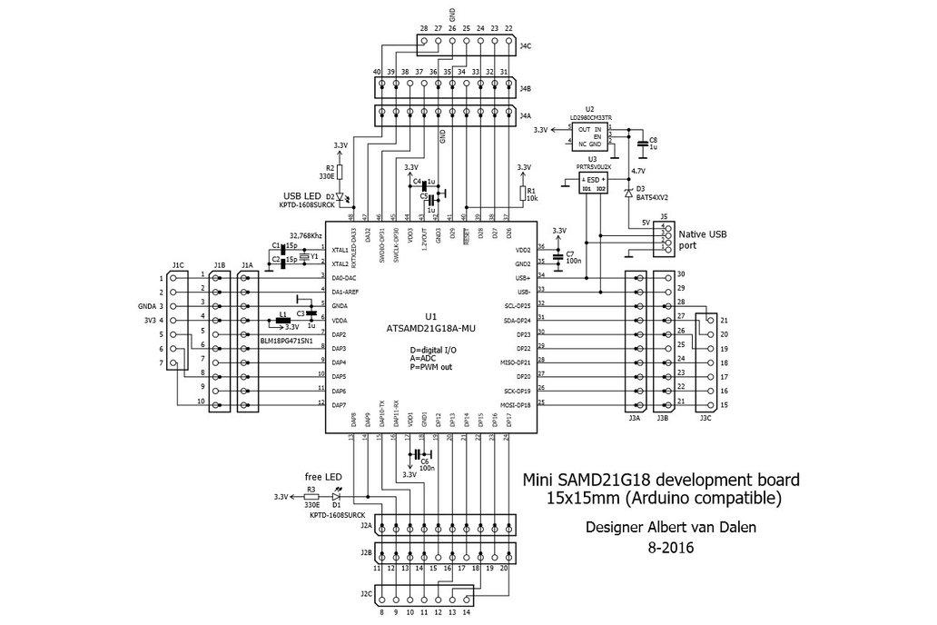 SAM 15x15 Arduino Zero compatible SAMD21 board 5