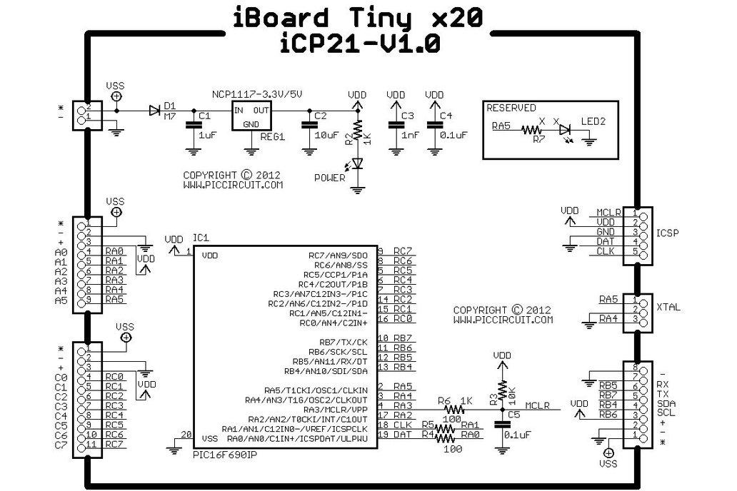 iCP21- Microchip 8, 14 & 20 pins PIC16  IO Board 2