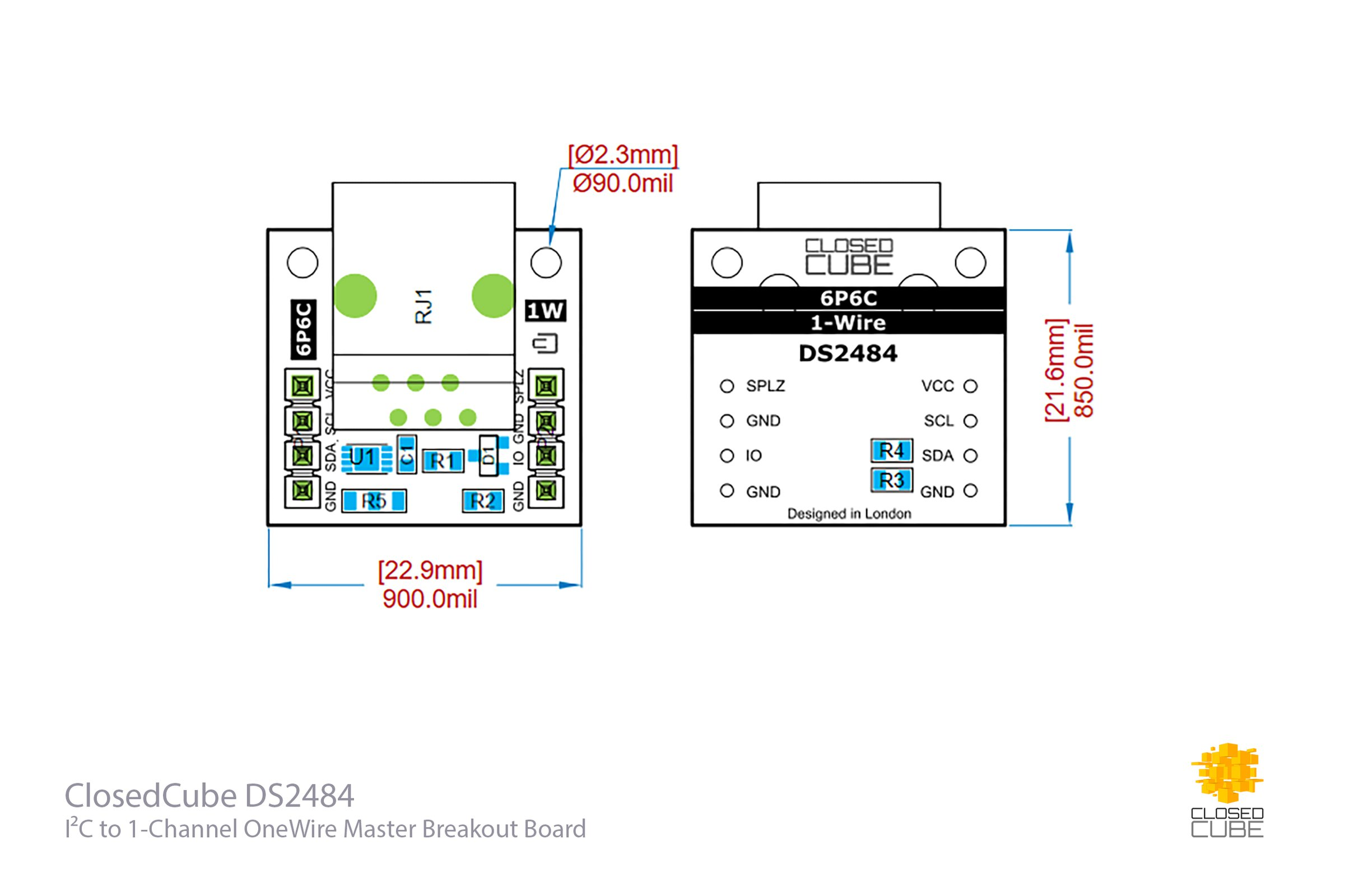 Ds2484 I2c To 1 Channel Onewire Master Breakout From Closedcube On Wiring Diagram 3