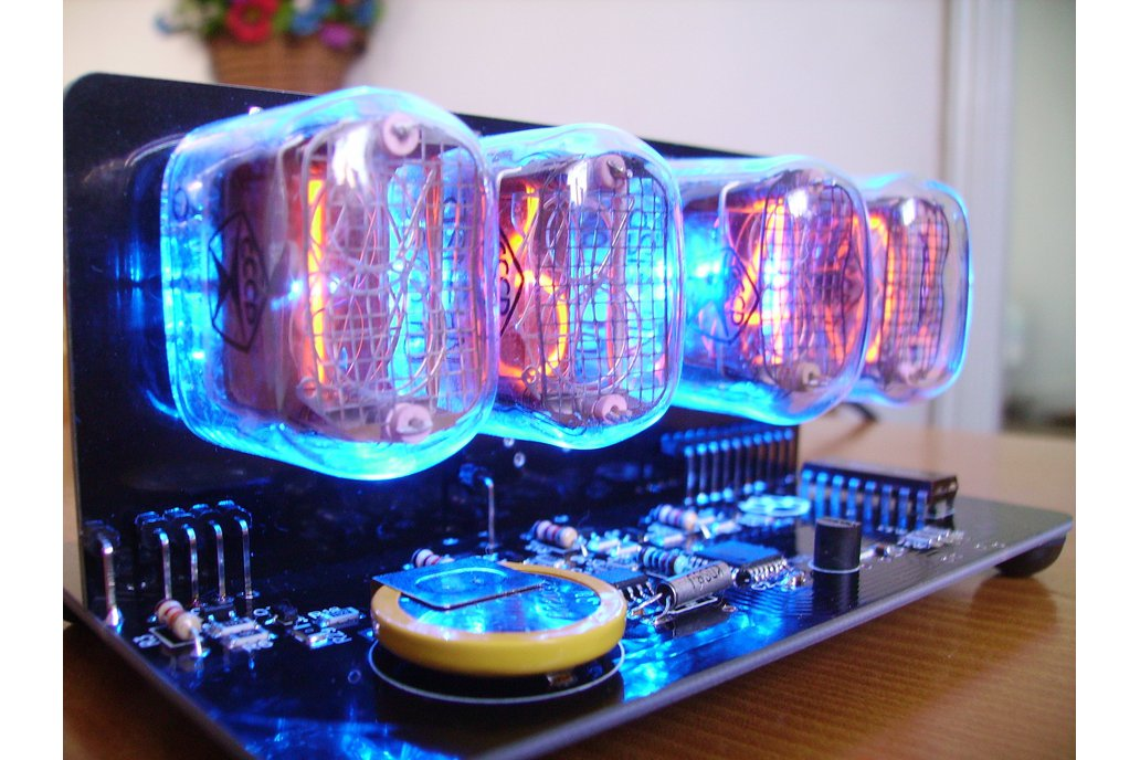IN-12 NIXIE TUBES CLOCK BLACK PCB WITH BLUE BACKLI 1