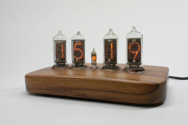 IN-8-2 Nixie tube clock with walnut case