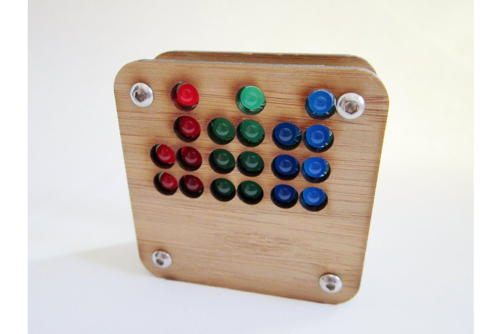 RGB Binary Clock KIT in  Bamboo Case USB Powered 4