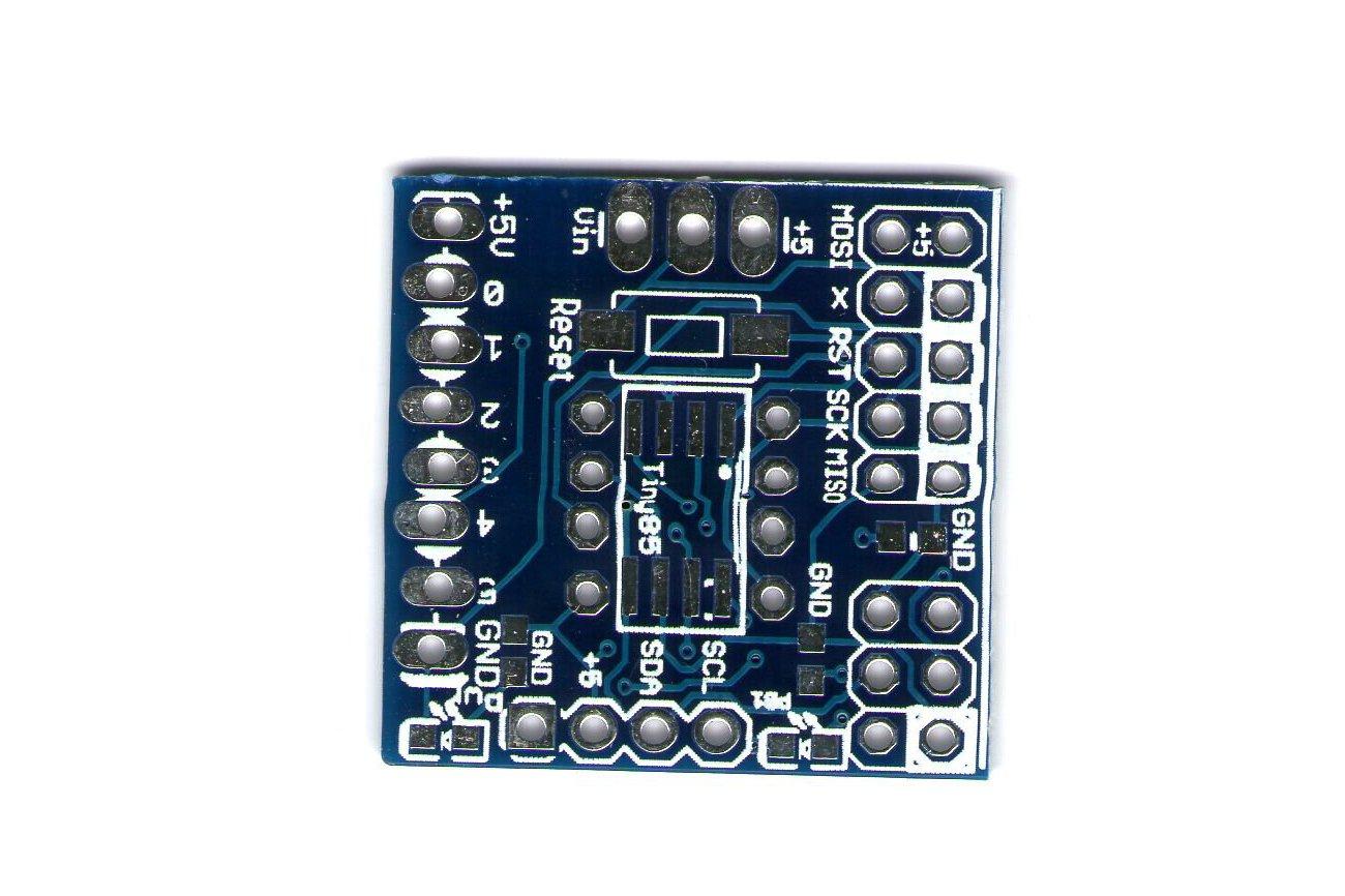 AtTiny85 programmer runtime board, breadboard adapter, bare pcb
