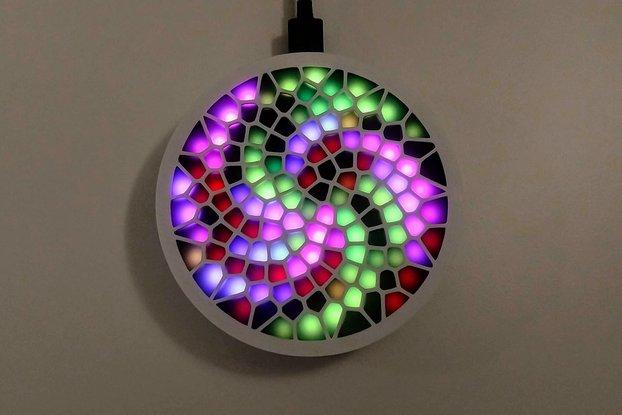 Fibonacci128 - 86mm disc with 128 WS2812B RGB LEDs