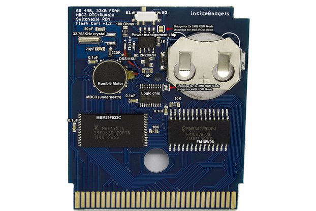 Gameboy 4MB 32KB FRAM MBC3 RTC Flash Cart (DIY)