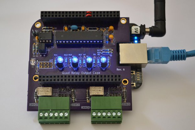 Smart Quad Relay Output Cape for the BeagleBone (Black & White)