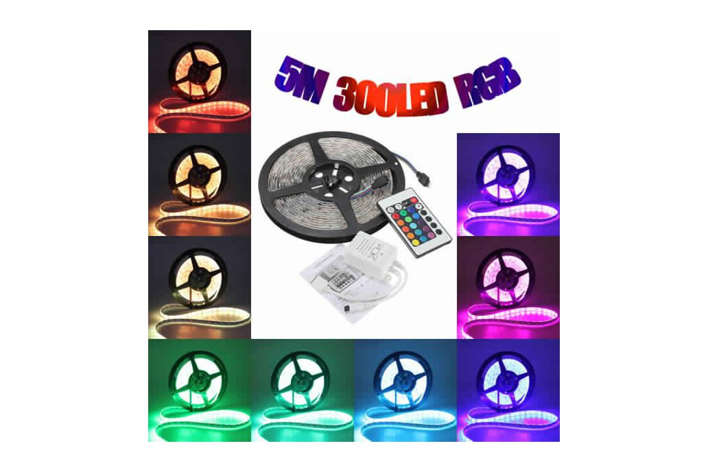 5M 5050 RGB Waterproof 300 LED Strip Light 12V DC  1