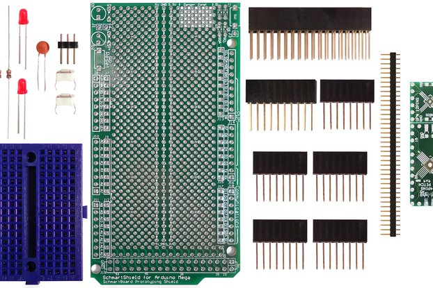 SchmartBoard|ez .5mm Pitch, 12 & 24 Pin QFP/QFN Arduino Mega Shield Kit