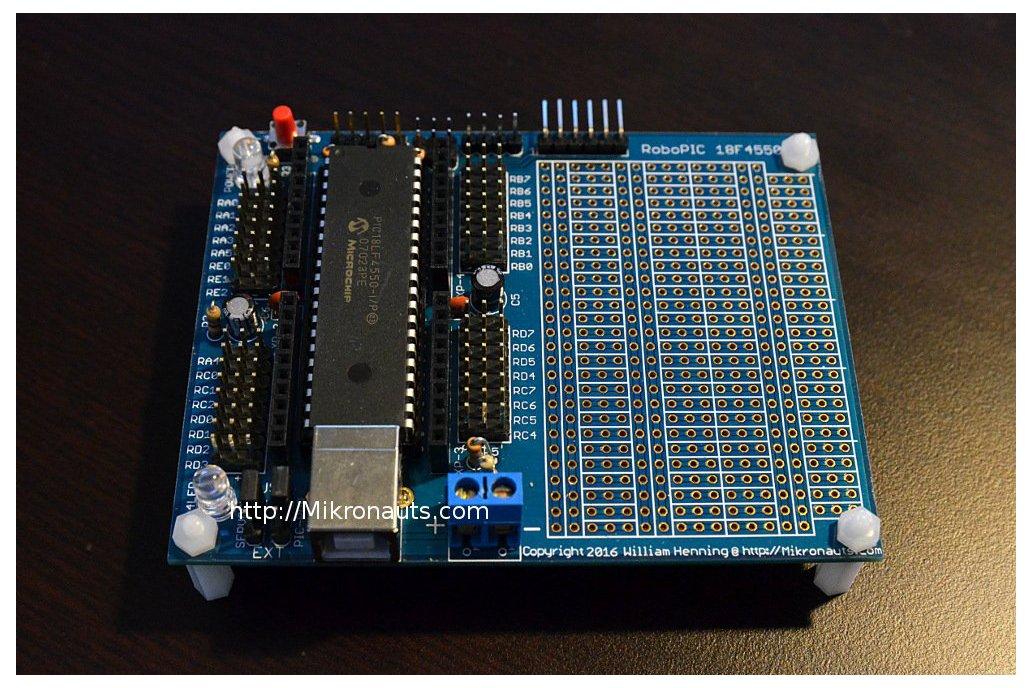 RoboPIC 18F4550 Robot Controller & Dev board Kit 1