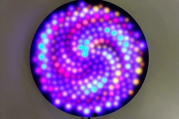 Fibonacci256 - 166mm disc with 256 WS2812B RGB LED