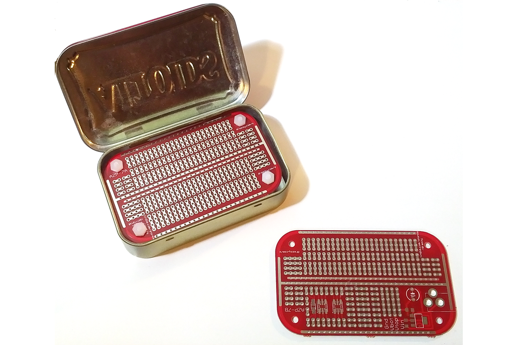 Mint-tin size prototyping board 1