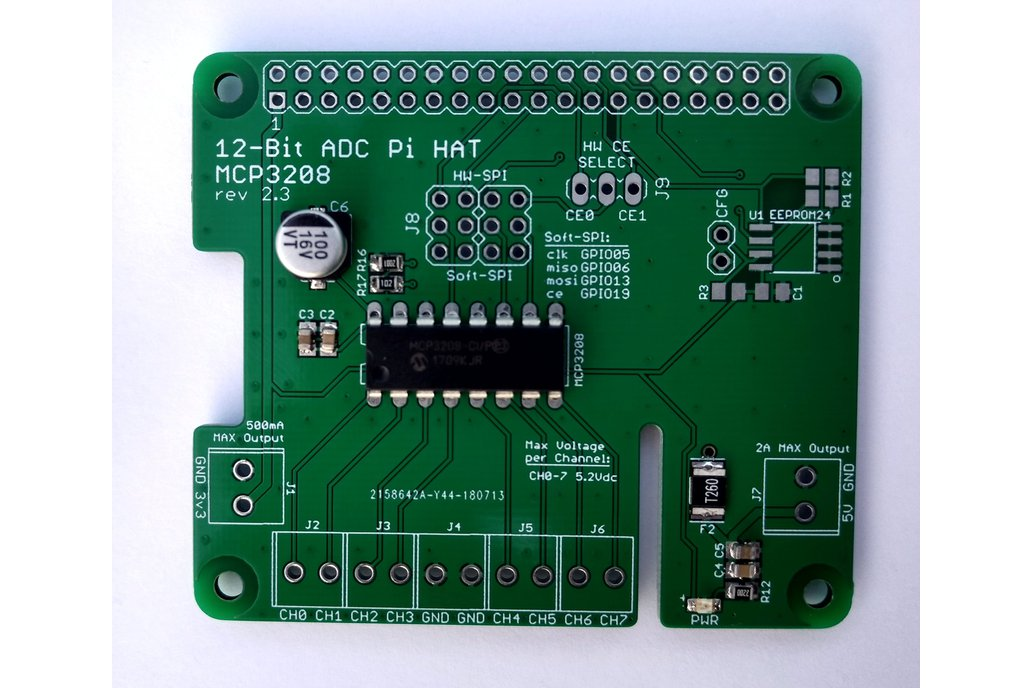 12-Bit/8-Channel ADC HAT for Raspberry Pi 3