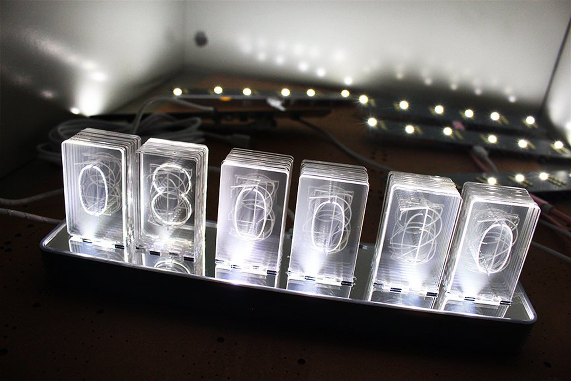 Nixt Clock Kit Acrylic Nixie Led Edge Lit 1