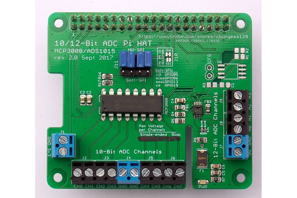 12-Channel 10/12 Bit ADC HAT for Raspberry Pi