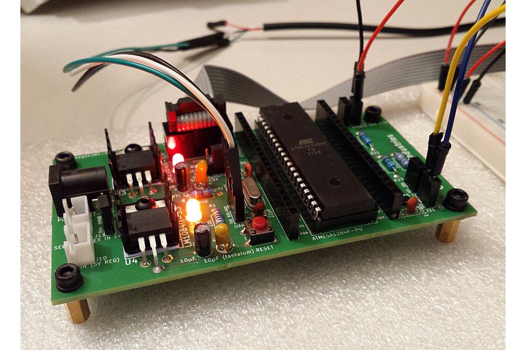 ATmega1284 dev board with 5V & 3.3V I2C and power 2