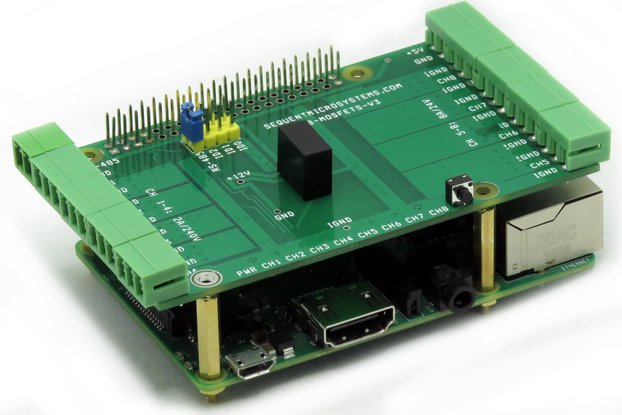 8-MOSFETS Stackable Card for Raspberry Pi