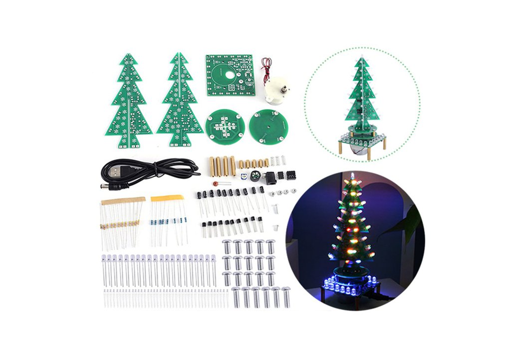 Auto-Rotate Flash RGB LED Music Christmas Tree Kit 1