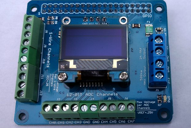 1-Wire plus 12-Bit ADC HAT for Raspberry Pi