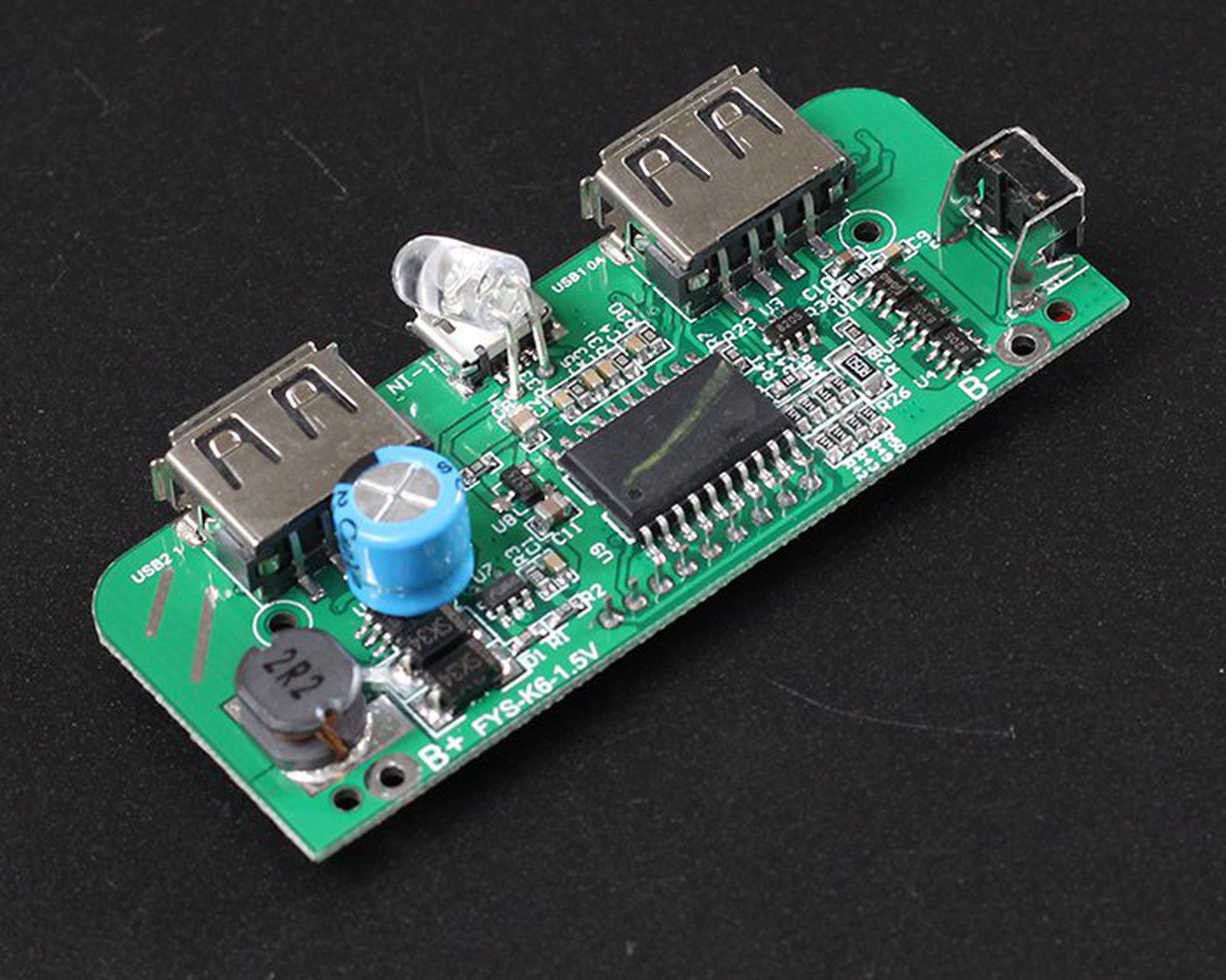 Two-USB Mobile Power Bank Charger PCB Board(6876) from ICStation on ...