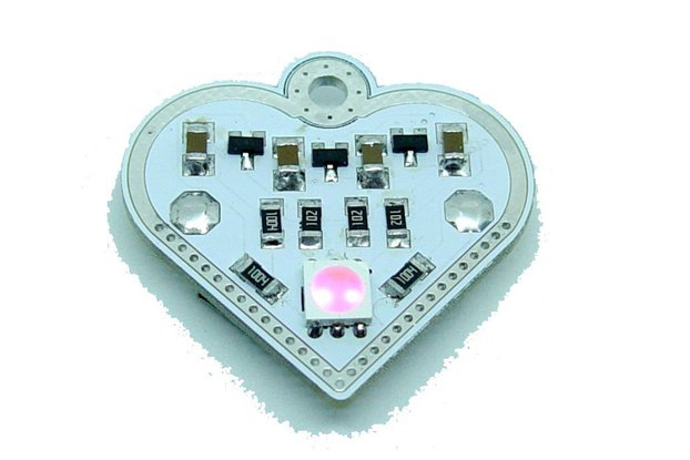 Pink blink Valentine heart - LED learn solder KIT