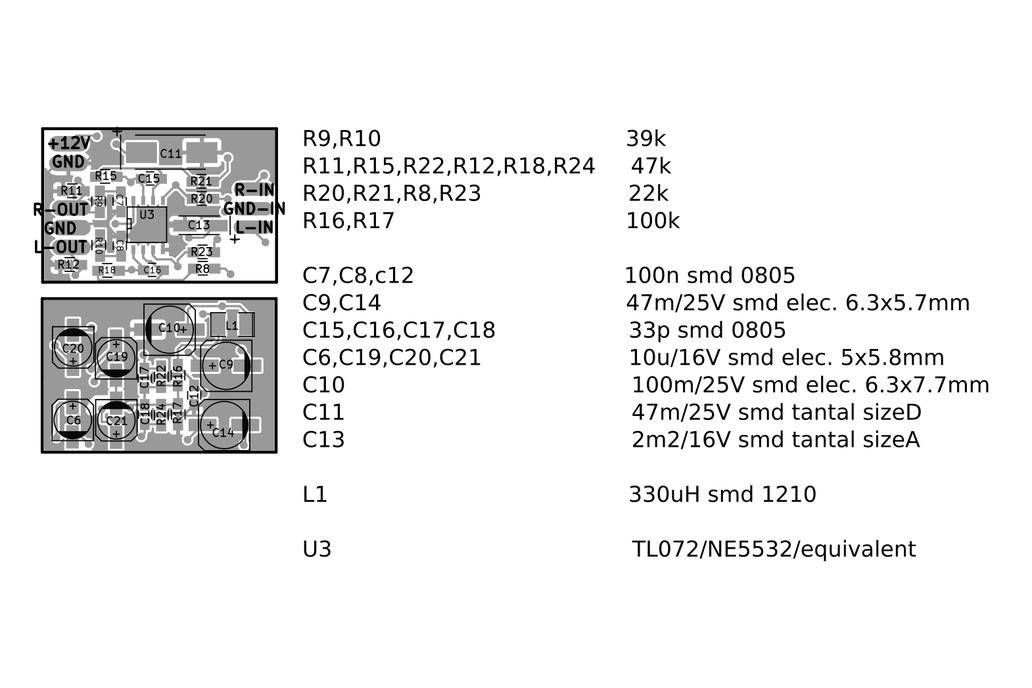 Single voltage diferential audio preamplifier 6