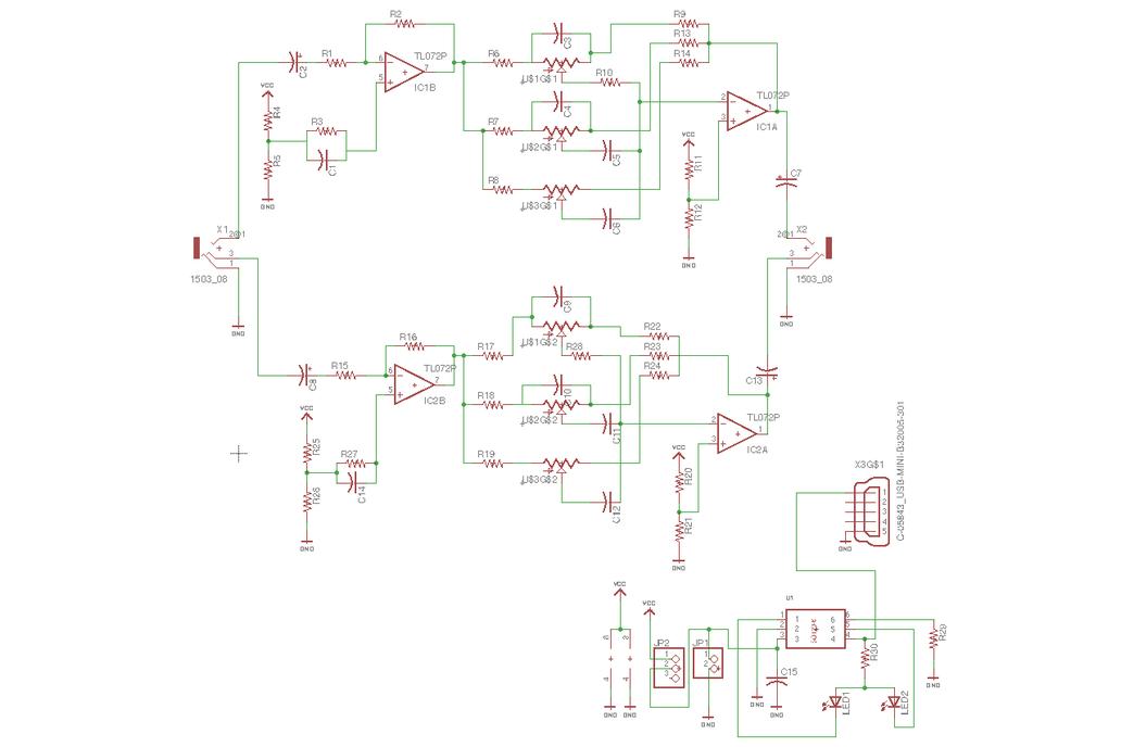 Simple stereo 3-band audio equaliser kit