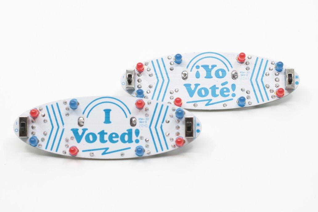 I Voted/Yo Voté Blinky Badge Soldering Kit 1