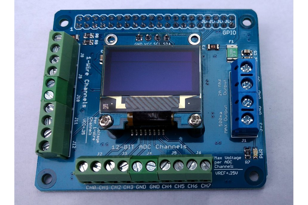 1-Wire plus 12-Bit ADC HAT for Raspberry Pi 1