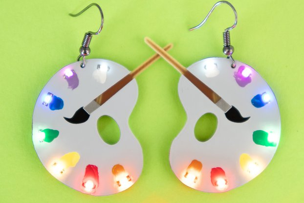 Art Palette colored LED earrings (pair)