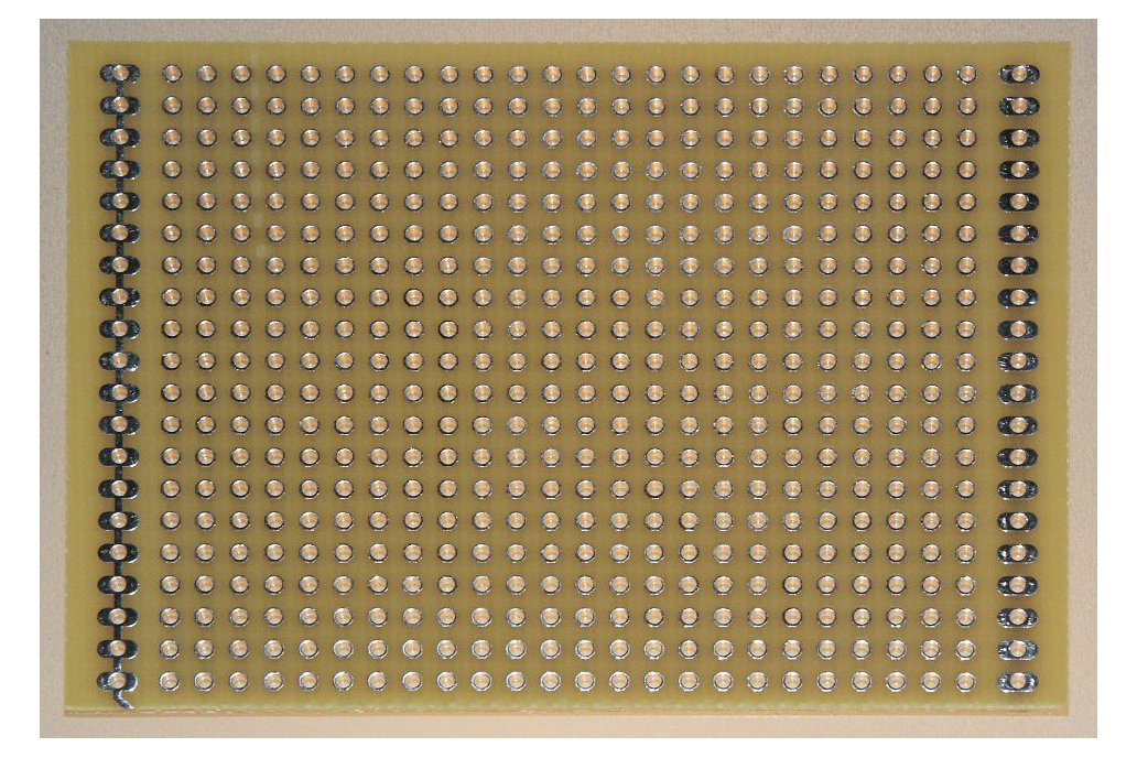 Protoboard with power buses and metallized holes 1