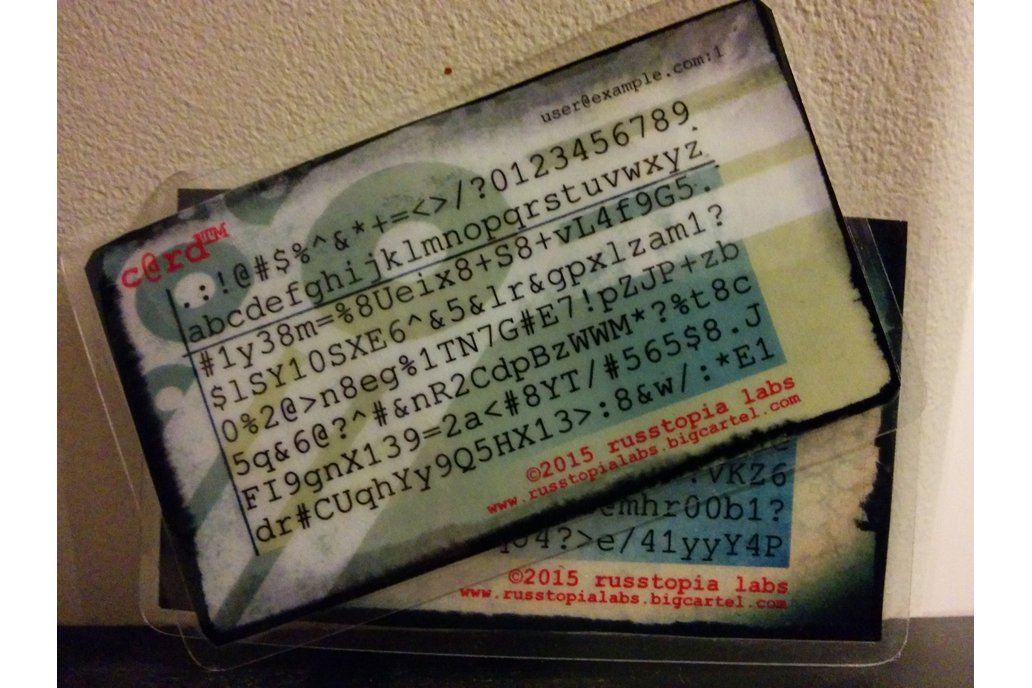 c@rd™ Password Generator/Recall Card 1