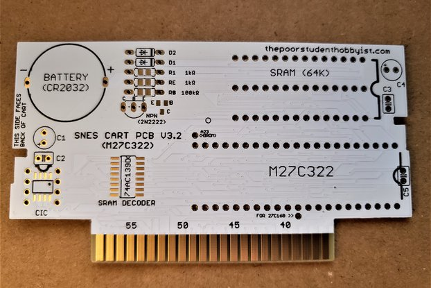 Custom SNES Cartridge PCB - 27C322, 27C160