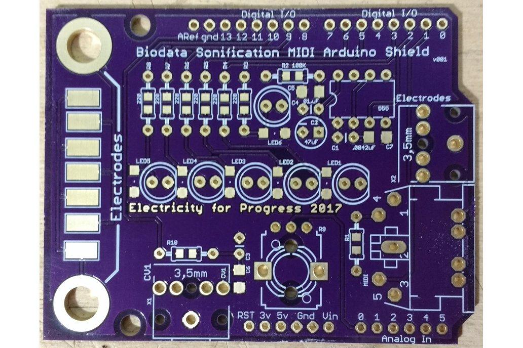 Biodata Sonification MIDI Interface Arduino Shield
