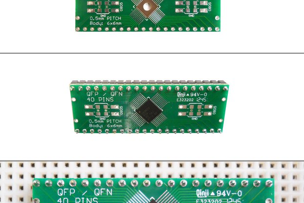 SchmartBoard|ez 0.5mm Pitch 40 Pin QFP/QFN to DIP adapter