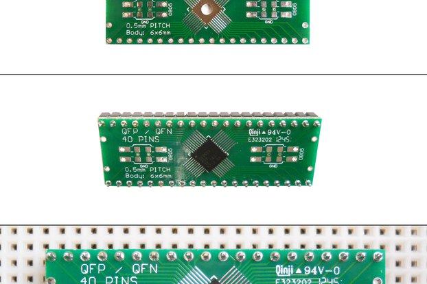 SchmartBoard|ez 0.5mm Pitch 40 Pin QFP/QFN to DIP adapter