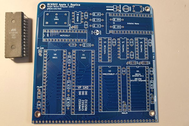 PCB + flashed EEPROM for RC6502 Apple 1 Replica