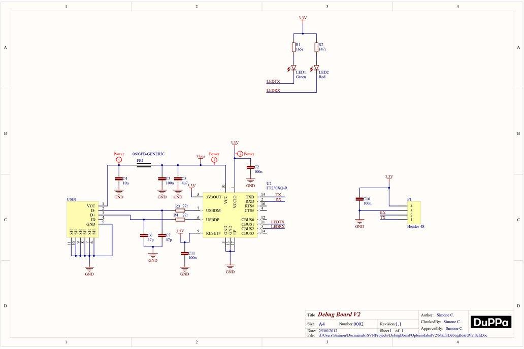 Debug Board USB to UART Isolated Splittable 10
