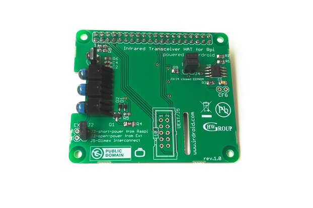 Irdroid-Rpi Infrared Transceiver for Raspberry Pi