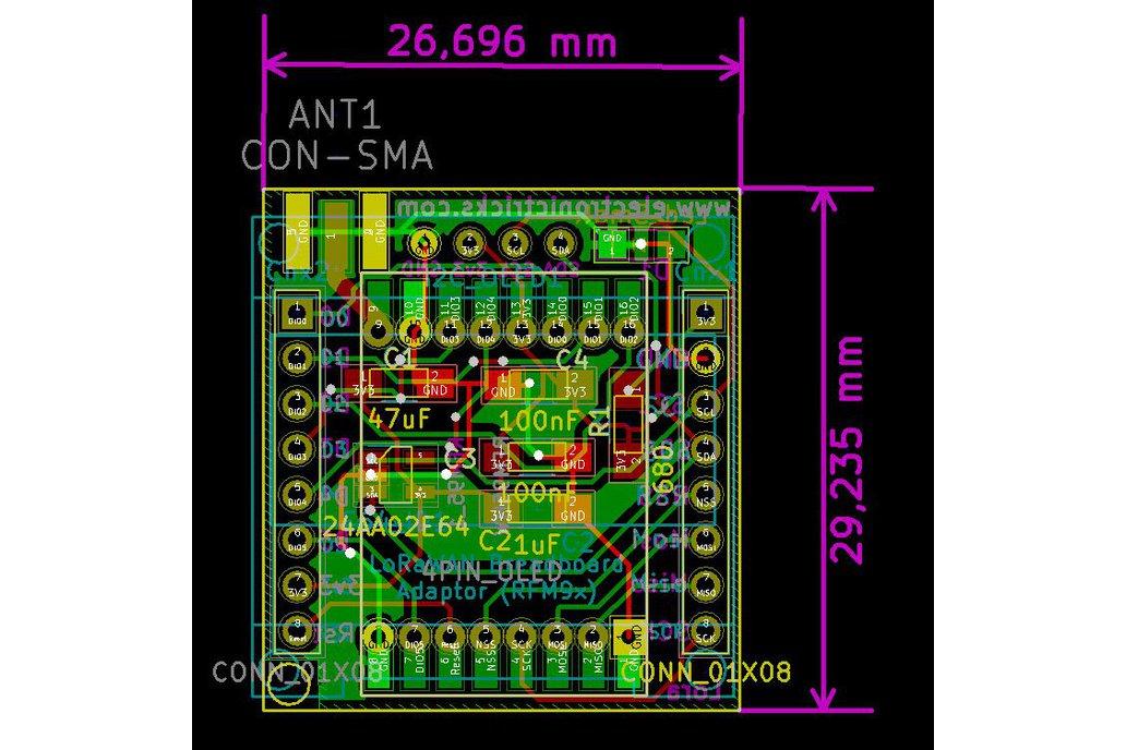 RFM95 LORA Breadboard PCB 5