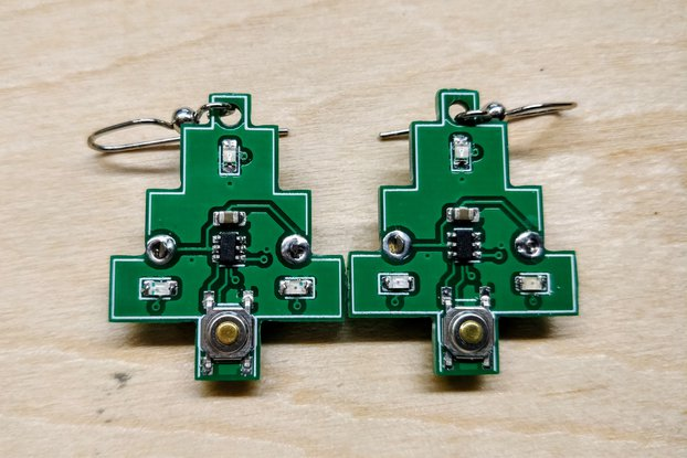 Flashing Circuit Board Christmas Tree Earrings