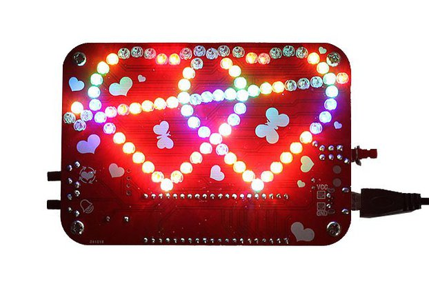 RGB LED Heart-Shaped Flashing Light Kit (13054)