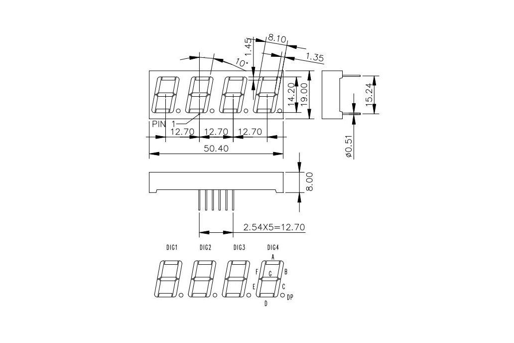 4 Digit Seven Segment LED Display (Common Cathode) 3