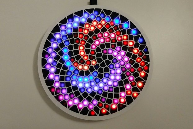 Fibonacci256 - 166mm disc with 256 WS2812B RGB LED