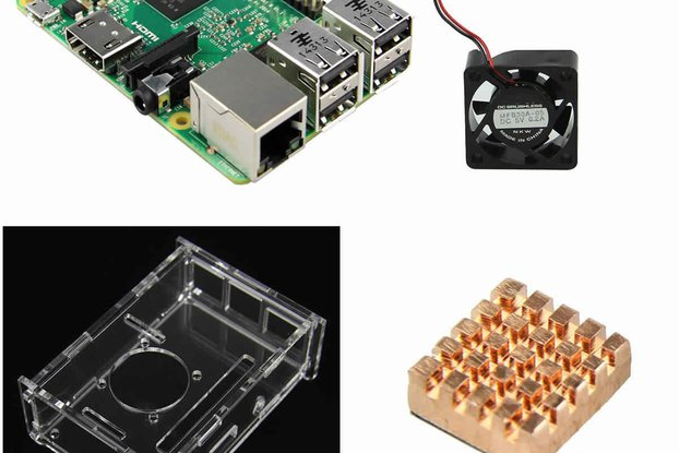 4 IN 1 Raspberry Pi 2 Model B + Acrylic Shell +fan
