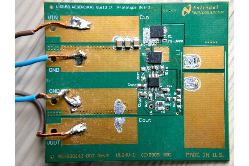 LM3150 prototype board populated for 12V to 5V DC 1