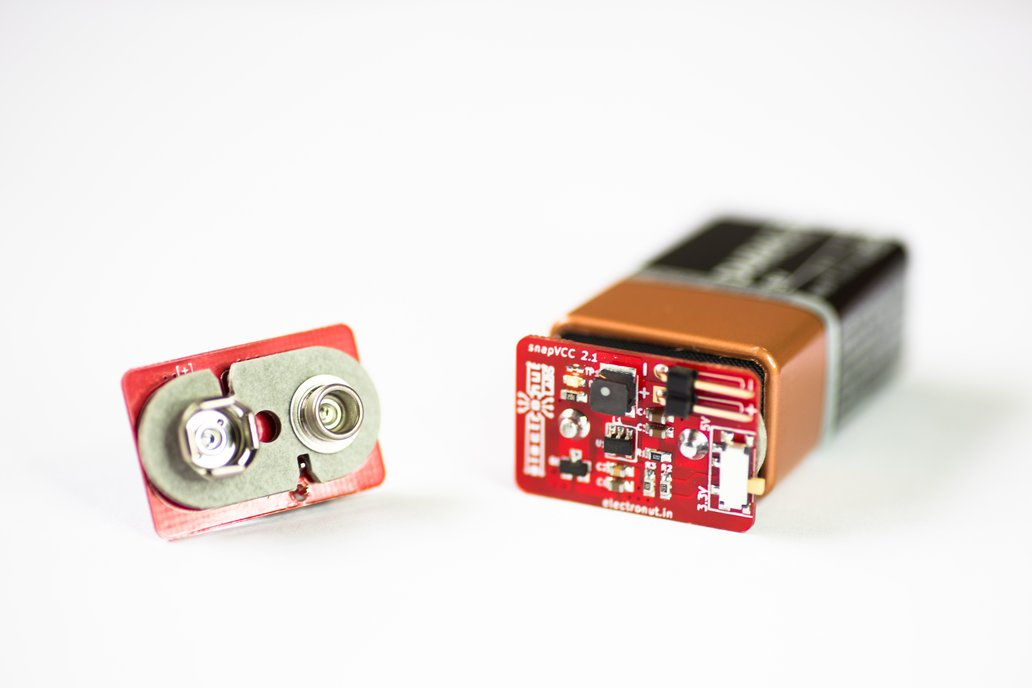 snapVCC  3.3/5 V regulator snaps onto 9V battery 1