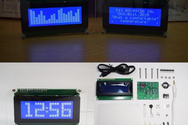 DIY Multifunctional LCD Music Spectrum Clock Kit